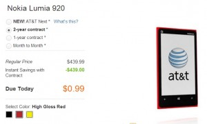 nokia lumia 920 on sale 99 cents att somegadgetguy