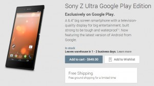 sony z ultra google play edition