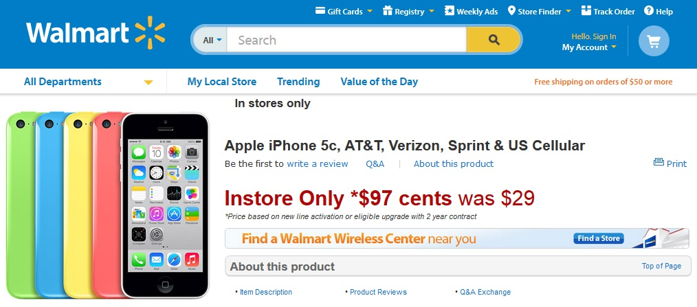 iphone 5c walmart sale