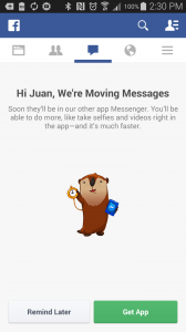 facebook messenger returns to facebook app